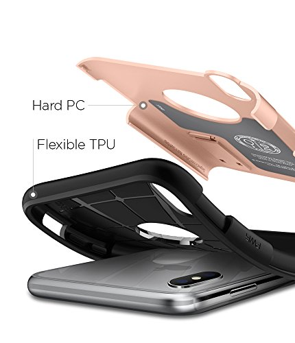 iPhone X Hülle, Spigen® [Slim Armor] Integrierter Kickstand [Gunmetal] 2-teiliges Doppelschicht Schutz Handyhülle mit Luftpolster Air Cushion Technologie an den Kanten Schutzhülle für iPhone X Case Co SA Blush Gold