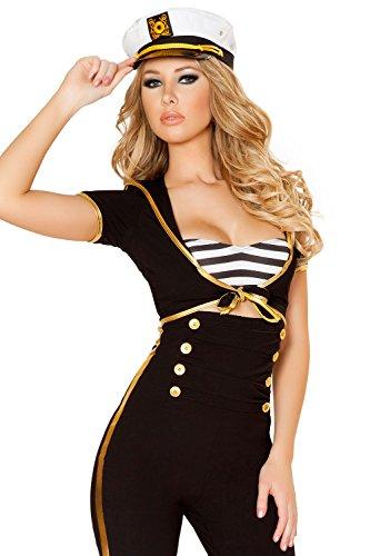 Damen New Damen Erwachsene Erotic Sexy Schwarz Navy Officer Uniform Cosplay Kostüm mit weiß Gap Fancy Kleid Hen Party Outfit Einheitsgröße 81012