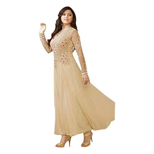 Generic Aryan Fashion Women's Cream Faux Georgette Anarkali Suit With Embroidered (Beige)  available at amazon for Rs.1649