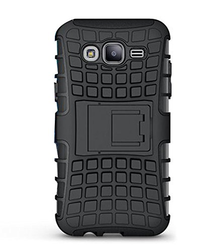 Generic 360° Protection Defender Armour Protector Shockproof TPU Case Cover with Kick Stand Shoppers Point for Samsung Galaxy J200 J2 2015 (Black)