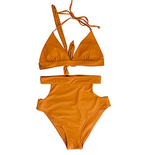 Honestyi Frauen Mädchen Bikini Gepolsterte Halfter Baden Sexy Zwei Stücke Set Badeanzug Bademode Frauen Split Bikini Bikini Zweiteilige Badebekleidung(Kaffee,M)