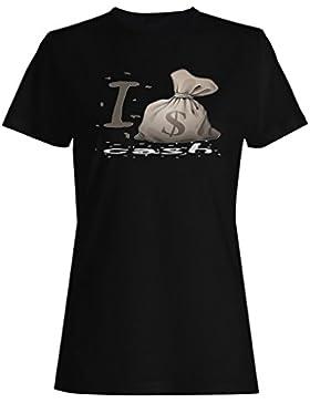 Amo el dinero del dinero en efectivo nuevo regalo camiseta de las mujeres f586f