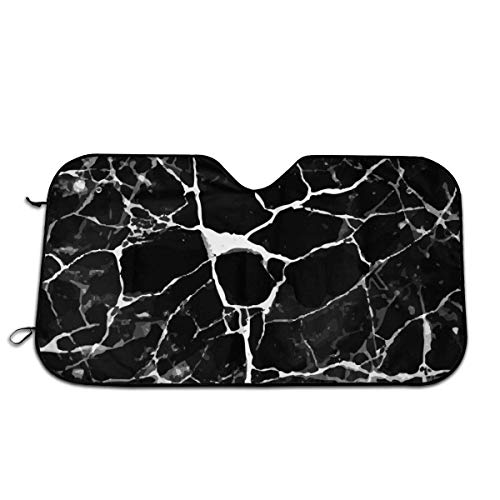 saibing Marble Print Black White Sun Protection Car Windshield Sun Shade- Keep Your Vehicle Cool-UV Ray Protector Sunshad for Car Auto Sedan Truck SUV