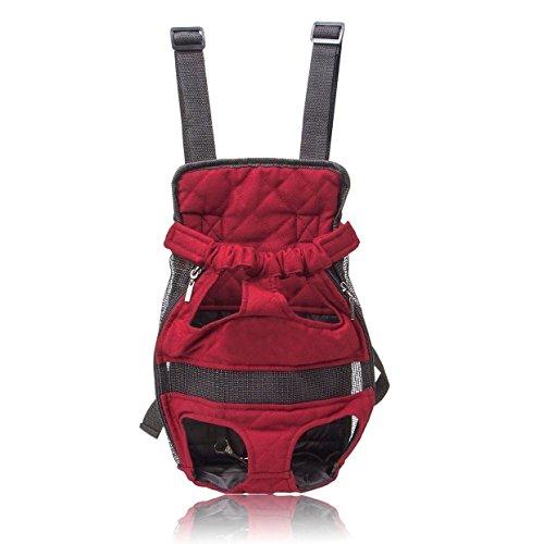 Imagen de  de viaje transportín a la espalda bolso para llevar mascotas perros y gatos, color vino tinto