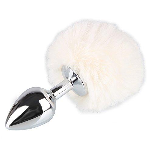 en Edelstahl Buttplug mit süßem Hasenschwanz(Ø 27mm), Erotik Fox Tail Analplug Cosplay - Farbe: Weiß - Größe: S ()