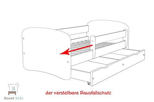 Kocot Kids Kinderbett Jugendbett 70×140 80×160 80×180 Weiß mit Rausfallschutz Matratze Schubalde und Lattenrost Kinderbetten für Mädchen und Junge – Fee mit Schmetterlingen 180 cm - 6
