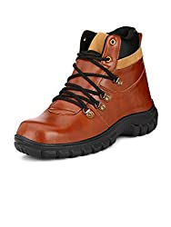 Eego Italy Tan Synthetic Leather Mens Steel Toe Boots
