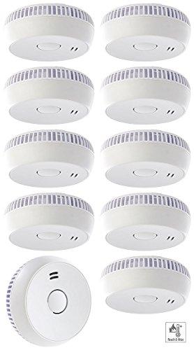 funk rauchmelder 10er set VisorTech Feuer-Alarm: Fotoelektrischer Rauchwarnmelder RWM-100 V2, EN 14604, 10er-Set (Rauch-Warnalarme)