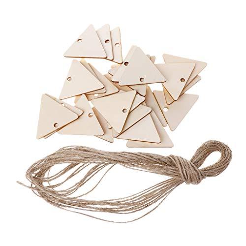Dreieck Hängeanhänger mit natürlichen Holzspänen für Hochzeit Party Gastgeschenk Karten Dekoration Geschenk ()