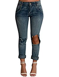 Women's Blue Faded Ripped Distressed Casual Glam Stunning Skinny Jeans