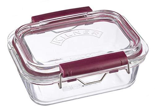 Frischhaltedose aus Borosilikatglas mit auslaufsicherem Clipverschluss-System, BPA-frei, backofen- und mikrowellenfest, 600 ml, Maße: 17 x 15 x 7,5 cm