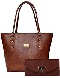 Flora Premium PU Leather Women's Handbag And Clutch Combo Of 2 (Brown_FLORA-152)