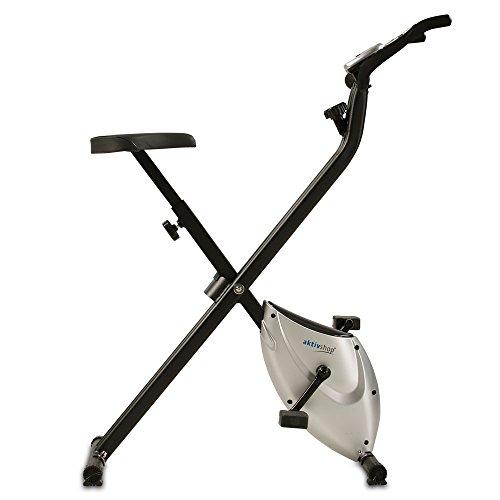 Heimtrainer X-Bike aktiv Fitnessbike F-Bike Fitnessgerät faltbar Handpulsmessung 2,5 kg Schwungmasse mit Magnetbremssystem! (Silber/Schwarz)