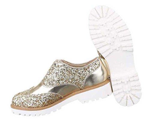Damen Halbschuhe Slipper Schuhe Schwarz Gold Silber 36 37 38 39 40 41 Gold