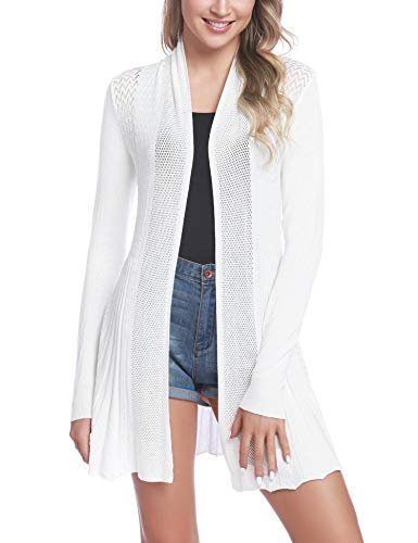 iClosam Damen Cardigan Lang Dünne Jacke mit Leichter Transparenz Langarm Strickjacke (Weiß1, XX-Large)