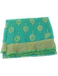 a15abcfb01 Inhika Gold Foil Print Womens Dupatta, Crisp Chanderi Material (Maroon  Yellow Pink Peach Green