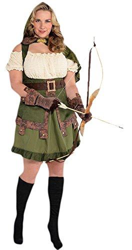 Robin Hood Lady Komplett Kostüm Kleid, Grün, Größe 2XL (Diamond Womens Kostüme)
