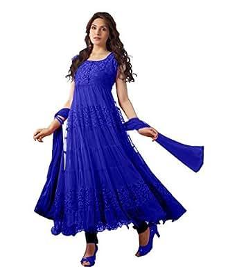 Rajnandini Womens Brasso & Net Anarkali Semi-Stitched Dress Material (Joplblue _Blue)