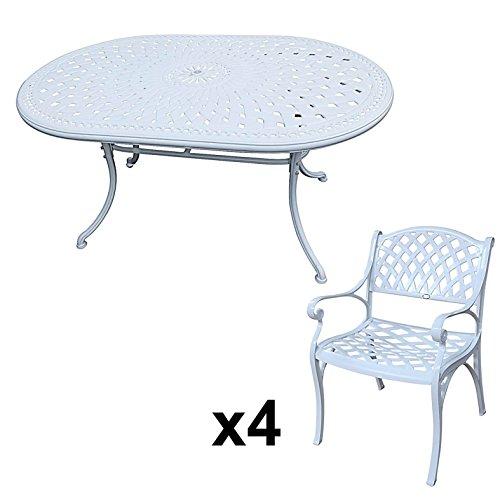 Lazy Susan - JUNE 150 x 95 cm Ovaler Gartentisch mit 4 Stühlen - Gartenmöbel Set aus Metall, Weiß (KATE Stühle)