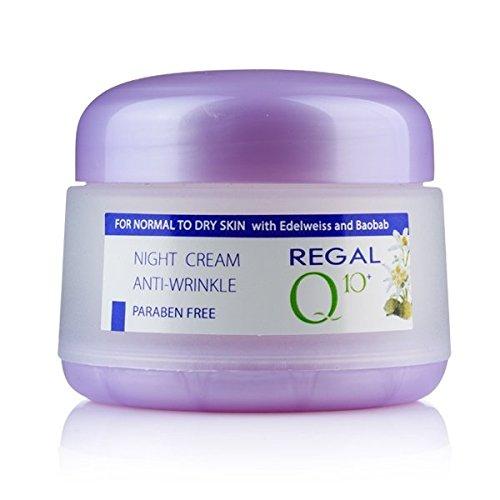 Regal Q10+ Crema da Notte Antirughe con Oleo di Baobab y Edelweiss, Pelle Normale o secca.