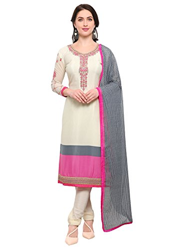 Varayu Women's Cream and Pink Colored Crepe Semi Stitched Salwar Suit