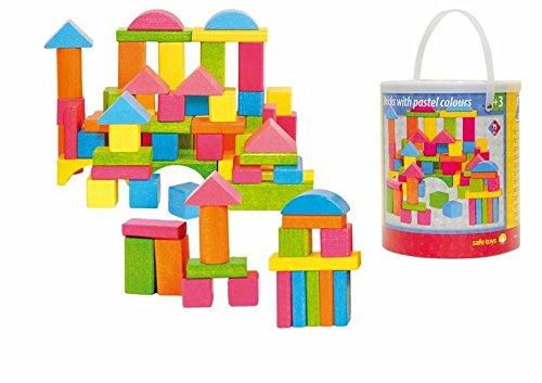 Woodyland Bloques para niños en un cubo (75 piezas), color pastel