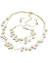 Shining Diva Fashion Jewelry Stylish Party Wear Pearl Necklace Set For Women / Jewellery Set With Earrings And...