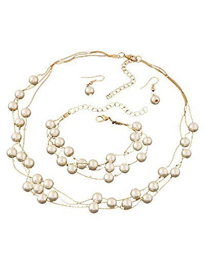 Shining Diva Fashion Jewelry Stylish Party Wear Pearl Necklace Set For Women / Jewellery Set with Earrings and Bracelet for Women & Girls