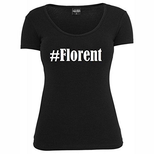T-Shirt #Florent Hashtag Raute für Damen Herren und Kinder ... in den Farben Schwarz und Weiss Schwarz