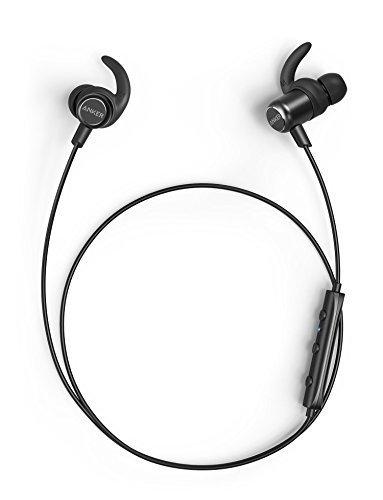 Anker SoundBuds Slim+ Bluetooth Kopfhörer Bluetooth 4.1 In Ear Kopfhörer Leichte Stereo Kopfhörer mit aptX High Resolution Sound, Personalisierbares Zubehör, IPX5 Wasserfeste Sportkopfhörer mit Metallgehäuse und Mikrofon (Schwarz)