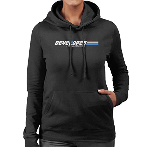 Developer A Real Coffee Drinker Women's Hooded Sweatshirt Black