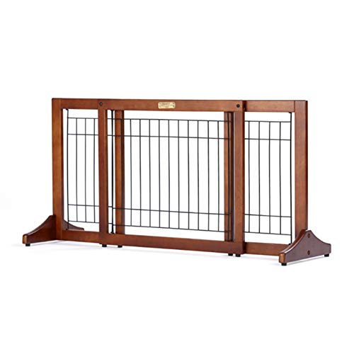 Barriera di sicurezza per cani estensibile recinzione per animali domestici, cancelli per animali in legno da appoggio per bambini o animali con cancello di sicurezza (dimensioni : (100-187cm)×51cm)