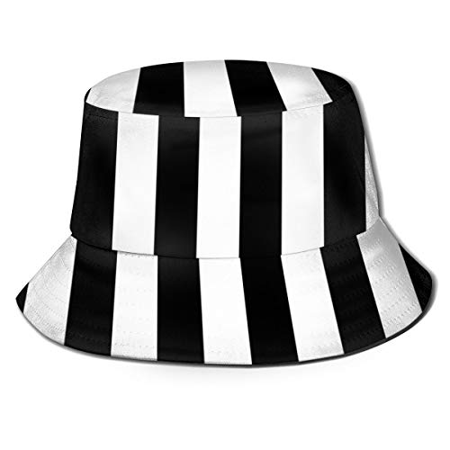 Pipaxing Geometrische Schwarze weiße Streifen Packable Reversible schwarz gedruckte Fischer Eimer Sonnenhut -