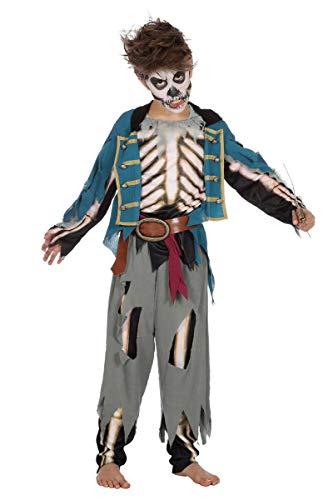 Wilbers Piratenkostüm Halloween Pirat Kostüm Kinder Jungen Zombie Fluch Horror 116-176 Blau/Grau/Weiß 164/176 (14-16 Jahre)