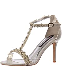 Onlineshoe Partido De Mujeres Diamante Y Flor Tiras Tacón Zapatos Bombas 0fc71e6a35f3