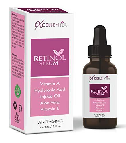 Excellentia Retinol Serum 60 ml - Vitamin E, Hyaluronsäure, Jojobaöl, Aloe Vera, Grüner Tee | Retinol Serum für Gesicht Hals Dekolleté | Anti-Aging Serum für vegane Gesichtspflege