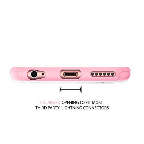 """iPhone 6 6s 4.7"""" haltbare dünne stoßfeste Schutzhülle Case Cover Soft Slim TPU-Bumper , True Color® Große Punkte gedruckt auf transparentem Hybrid Cover Hartschale - Weiß Mini-Pünktchen Rosa"""