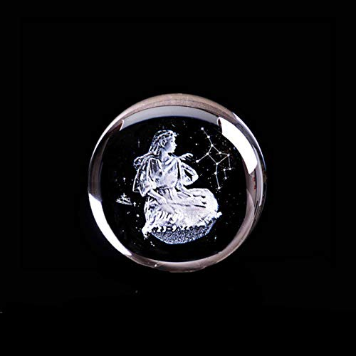 ZHANGJ 3D Lasergravur Jungfrau Kristallkugel Engel Konstellation Briefbeschwerer Haushaltskunst Dekoration Kunsthandwerk Feng Shui Globus, Kugel, 8 cm