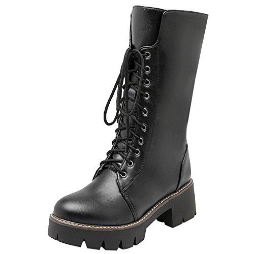 COOLCEPT Fashion Damen High Top Schnürung Combat Chunky Boots Warm gefüttert mit Stiefel Schwarz