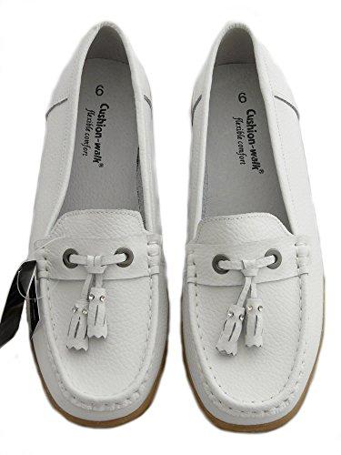 Cushion Walk Chaussures en Cuir Pour Femmes, Mocassins, Chaussures Confortables. Blanc