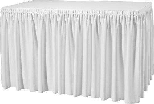 Gastro Uzal Skirting mit Plisséfalte, Weiß | 4,90 x 0,73 m, Büffettisch Skirtings, Tablerock White