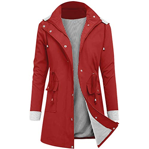 TIMEMEAN Ladies Waterproof Coat Rain Jacket Women Raincoat Winter Lightweight Comfortable Hooded Outwear