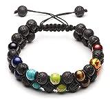 Jovivi 7 Chakra Armband geflochtenes doppeltes Lavastein Perlenarmband einstellbar Buddha Yoga Steinarmband einstellbar