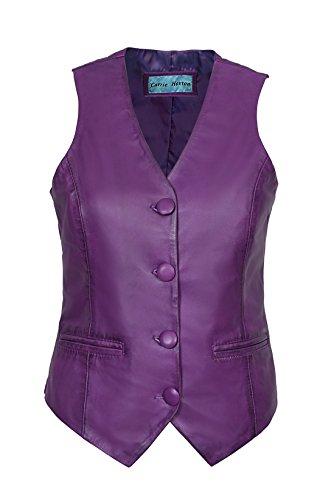 Smart Range Neu 5701 Damen Party Weste Cool Beiläufig Napa Stil Mode Weiches Lammfell Leder Taille Mantel Purple