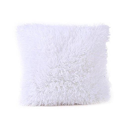 Taies d'oreiller Quistal Oreiller Cousin Doux Confort en Peluche Housse Cousin pour Maison Chambre Canapé Décor 43cm*43cm/16*16'' (Blanc)