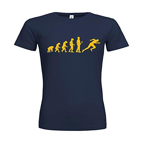 MDMA Frauen T-Shirt Classic Evolutionstheorie Leichtathletik Sprint N14-mdma-ftc00379-178 Textil navy / Motiv gelb / Gr. L
