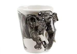 Elefant Kaffeetasse handgefertigt Grau 225g (10cm x 8cm)