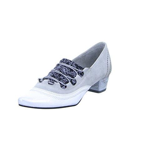 Maciejka 03379 Damen Pumps Schnellspanner Leder Schwarz Weiß Grau (Grey), Größe 40