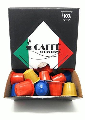 Kaffee Caffè Sebastiano 3 Sorten Flavour Box - 100 Nespresso kompatible Kaffeekapseln