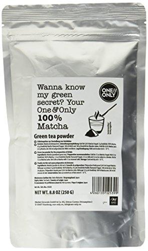 one & only Matcha Powder 100% zum Verfeinern von Backwaren, Kuchen, Speisen, Cocktails und Mixgetränken, 1er Pack (1 x 250 g)